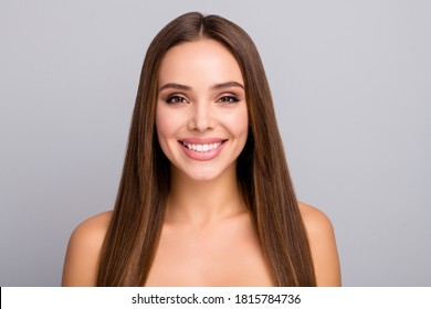 Close-up portrait of her she nice-looking attractive lovely charming cheerful cheery straight-haired girl perfect skin facial serum effect isolated over gray pastel color background