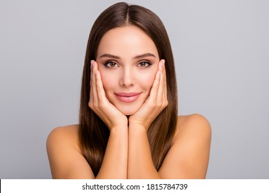 Close-up portrait of her she nice-looking attractive lovely charming feminine confident straight-haired girl touching face collagen botox nourishing isolated over gray pastel color background
