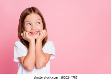 Close-up portrait of her she nice-looking attractive lovely sweet curious cheerful cheery smart clever girl creating new idea solution fantasize copy space isolated pink pastel color background - Shutterstock ID 1820244785
