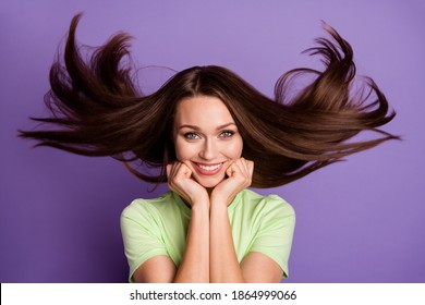 Close-up portrait of her she nice-looking attractive pretty lovely cute cheerful cheery girl wind blowing clean smooth hair wellness isolated bright vivid shine vibrant lilac violet color background