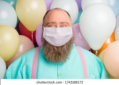 Close-up portrait of his he funny funky crazy bearded fat man enjoy celebration anniversary valentine day party wear cool clothes gauze mask self isolation lonely single bachelor air balls background