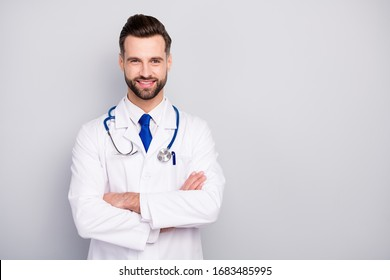 Close-up portrait of his he nice attractive content experienced cheerful cheery bearded guy ceo boss chief director med expert visit folded arms isolated over light white gray pastel color background
