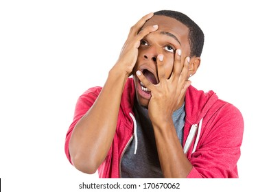 Closeup portrait of hysterical mad man going nuts seeing things that don't exist hallucination and being confused, isolated on white background. Negative human emotion facial expressions feeling