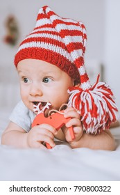 close-up portrait of infant child in red and white striped hat with pompom playing with toy deer in bed