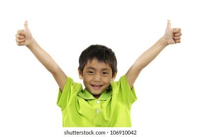 closeup portrait of little boy with big finger