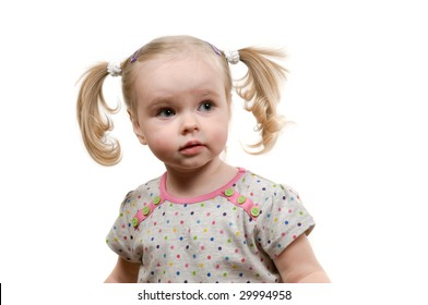 Closeup portrait of Little girl with ponytails