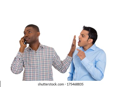 Closeup portrait of loud obnoxious rude guy talking loudly on cell phone, man complains, gets face palm. Isolated on white background. Negative human emotions, facial expressions, feelings reaction
