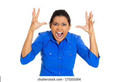 Closeup portrait of mad bitter displeased pissed angry cranky grumpy young woman open mouth, hands in air in nervous breakdown, isolated on white background. Negative emotion facial expression feeling