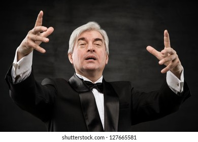 Closeup portrait of male orchestra conductor directing with his hands in concert. Business leading concept
