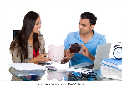 Closeup portrait of a man showing his woman an empty wallet, being broke and poor, isolated on white background. FInancial difficulties, job loss, mortgage payment problem. family conflict