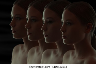 Closeup portrait of many women's faces. the Dark group portrait. Replicants or clones