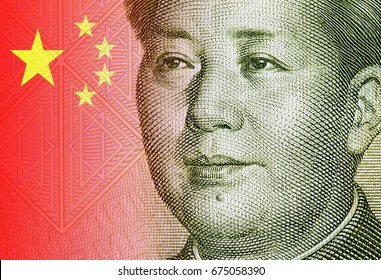 Close-up portrait of Mao Zedong, portrait of the chairman Mao and detail of Chinese flag