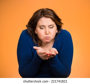 Closeup portrait middle aged sick woman about to vomit, chuck, throw up, puke, retch barf, hurl isolated orange background. Negative human emotions, feelings, facial expressions. Excessive drinking