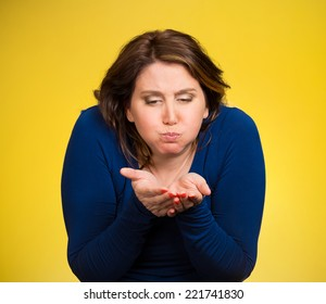 Closeup portrait middle aged sick woman about to vomit, chuck, throw up, puke, retch barf, hurl isolated yellow background. Negative human emotions, feelings, facial expressions. Excessive drinking