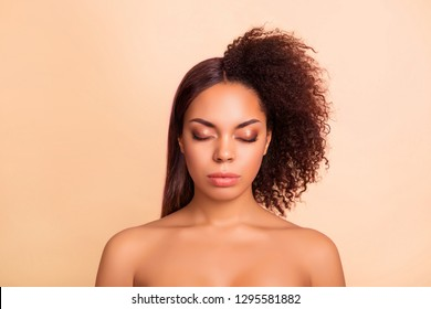 Close-up portrait of nice attractive groomed glamorous winsome charming lady perfect shine smooth clean clear flawless silky pure skin two side different hair isolated on beige pastel background