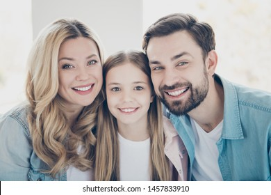 Close-up portrait of nice attractive lovely winsome charming cute sweet cheerful cheery people spending time together in light white interior room