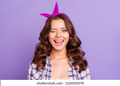 Close-up portrait of nice cheerful cheery glad sweet tender lovely attractive flirty mood girlish lady wearing head band opened mouth isolated over violet pastel background
