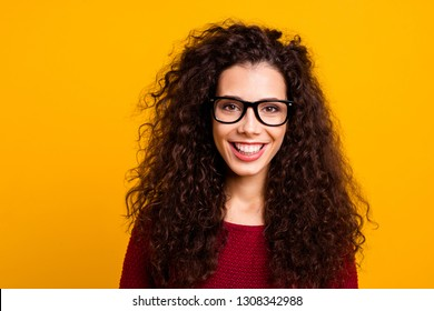 Close-up portrait of nice cute attractive lovely cheerful wavy-haired lady tutor teacher sight laser correction isolated over bright vivid shine background
