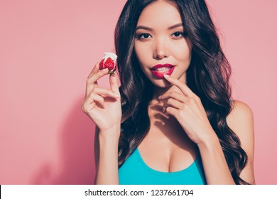 Close-up portrait of nice foxy curious cute glamorous lovely sweet attractive magnificent wavy-haired lady touching red lips want wish whipped cream dessert isolated over pink pastel background