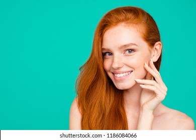 Close-up portrait of nice nude positive sweet tender adorable cheerful red-haired girl with shiny pure clean clear fresh smooth soft flawless skin,  isolated over green turquoise background