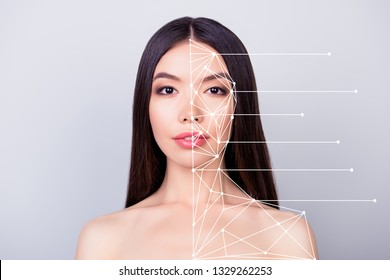 Close-up portrait of nice pretty lady with flawless smooth clean clear skin different types places of face lines showing marked renovation fillers isolated over pastel gray background