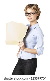 Close-up portrait of an office lady holding a folder of a report over the white background