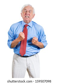 Closeup portrait of an old man, grandfather, corporate executive in blue shirt and red tie yelling at someone with fists in the air, looking very unhappy, mad and angry, isolated on white background