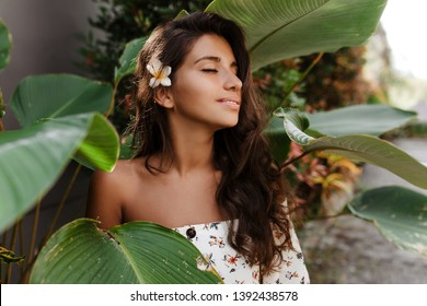 Close-up portrait of pacified woman with flower in dark wavy hair. Lady with slight smile and closed eyes posing against backdrop of tropical plant
