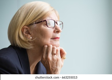 Closeup Portrait of Pensive Senior Business Woman