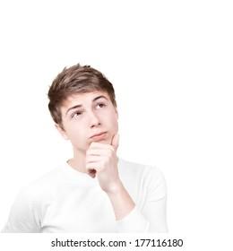 Close-up portrait of a pensive young man