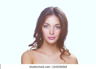 Closeup portrait picture of beautiful woman