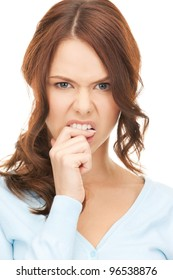 closeup portrait picture of woman biting her finger.