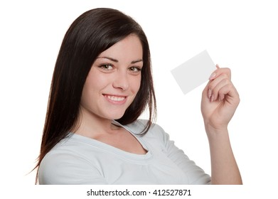 Closeup portrait of pretty girl holding blank business card