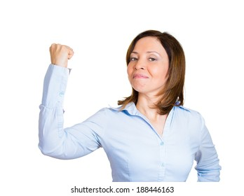 Closeup portrait, pretty middle aged model woman flexing muscles showing displaying her gun show, isolated white background. Positive emotion facial expression feelings, attitude, perception