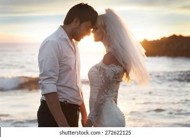 Closeup portrait of the romantic marriage couple