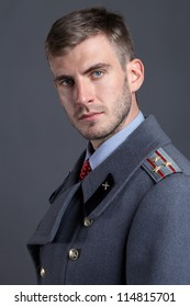 close-up portrait of Russian military officer