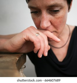 closeup portrait sad woman
