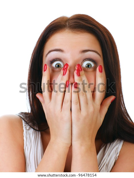 Close-up portrait of the scared woman, isolated on white.