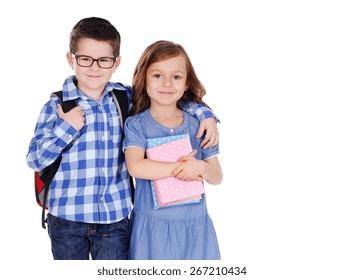 closeup portrait of a schoolboy and the schoolgirl