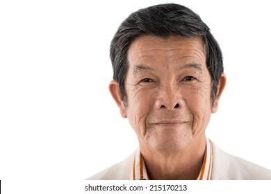 Close-up portrait of senior Asian man