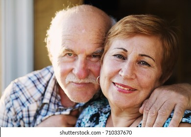 Closeup portrait of senior couple