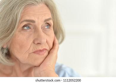 close-up portrait senior woman