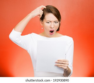 Closeup portrait shocked, surprised funny looking stressed woman disgusted, monthly statement isolated red background. Negative human emotion, facial expression, feelings. Financial crisis, bad news