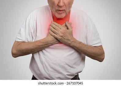 Closeup portrait sick old man, elderly guy, having severe infection, chest pain, looking miserable unwell, trying to catch his breath isolated on gray background. Geriatric health care concept