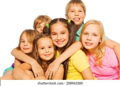 Close-up portrait of six kids