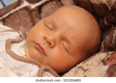 close-up portrait of a sleeping baby