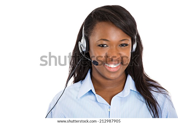 Closeup portrait smiling adorable female customer representative business woman with phone headset chatting on line with customer isolated white background. Positive human emotions, facial expressions