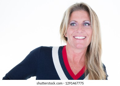 Close-up portrait of smiling beautiful woman posing white background looking side with copy space