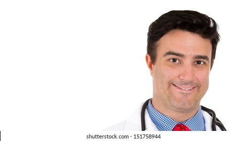 Closeup up portrait of smiling male healthcare professional or pharmacist or dentist or scientist or doctor or nurse wearing red tie, isolated on white background with copy space
