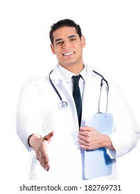 Closeup portrait of a smiling young male doctor with stethoscope, holding clipboard, giving handshake, isolated on white background. Patient doctors visit and health care plan. Cardiology appointment.
